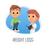 Begrepp för läkarundersökning för viktförlust också vektor för coreldrawillustration Arkivfoto