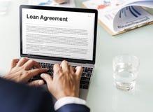 Begrepp för lån för kreditering för budget för lånöverenskommelse huvud Royaltyfria Bilder