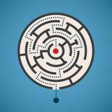 Begrepp för labyrint för rund form för vektor med banan Arkivbilder