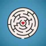 Begrepp för labyrint för vektorhjärtaform Arkivbild