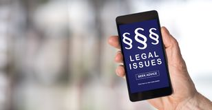 Begrepp för lagliga frågor på en smartphone Royaltyfria Bilder