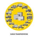 Begrepp för lasttrans.runda med olika typer av lastbilar i plan stil arkivbilder