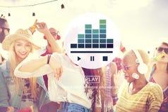 Begrepp för lek för massmedia för musikspelare ljudsignalt Arkivfoton