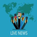 Begrepp för levande rapport för vektor, levande nyheterna, händer av journalister med mikrofoner och inspelningmobiltelefon Arkivbilder