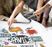 Begrepp för leverans för kund för hjälp för tjänste- service arkivfoto