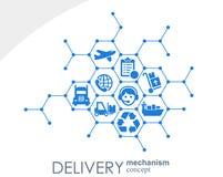 Begrepp för leveransmekanism Abstrakt bakgrund med förbindelsekugghjul och symboler för logistiskt som är tjänste-, strategi som  Royaltyfri Illustrationer
