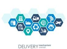 Begrepp för leveransmekanism Abstrakt bakgrund med förbindelsekugghjul och symboler för logistiskt som är tjänste-, strategi som  Vektor Illustrationer