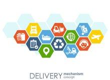 Begrepp för leveransmekanism Abstrakt bakgrund med förbindelsekugghjul och symboler för logistiskt som är tjänste-, strategi som  Stock Illustrationer