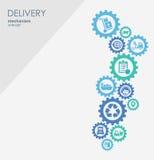 Begrepp för leveransmekanism Abstrakt bakgrund med förbindelsekugghjul och symboler för logistiskt, strategi, service som sänder Vektor Illustrationer
