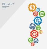 Begrepp för leveransmekanism Abstrakt bakgrund med förbindelsekugghjul och symboler för logistiskt, strategi, service som sänder Royaltyfria Foton