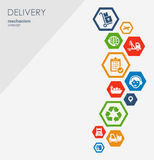Begrepp för leveransmekanism Abstrakt bakgrund med förbindelsekugghjul och symboler för logistiskt, strategi, service som sänder Royaltyfri Illustrationer