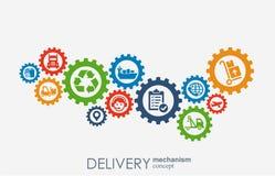 Begrepp för leveransmekanism Abstrakt bakgrund med förbindelsekugghjul och symboler för logistiskt, strategi, service som sänder Arkivfoto