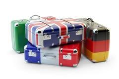 Begrepp för loppdestinations- och resabagage Arkivfoto