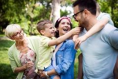 Begrepp för lycka för avkoppling för samhörighetskänsla för familjpicknickdet fria royaltyfri bild
