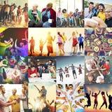 Begrepp för lycka för parti för tonåringvänstrand royaltyfri fotografi