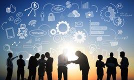 Begrepp för möte för kommunikation för diskussion för affärsfolk royaltyfri illustrationer