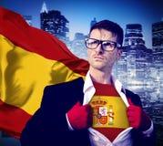 Begrepp för makt för kultur för affärsmanSuperhero Country Spain flagga Arkivfoto