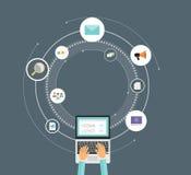 Begrepp för marknadsföring för plan vektorteknologiaffär digitalt royaltyfri illustrationer