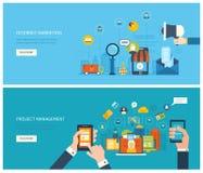 Begrepp för marknadsföring för projektledning och internet royaltyfri illustrationer