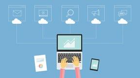 Begrepp för marknadsföring för teknologiaffär digitalt stock illustrationer