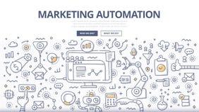Begrepp för marknadsföringsautomationklotter royaltyfri illustrationer