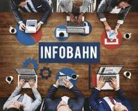 Begrepp för matris för information om Infobahnsiffra Arkivbilder