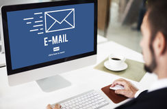 Begrepp för meddelande för Emailinternetförbindande kommunikation royaltyfri fotografi