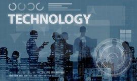 Begrepp för medel för teknologianslutningsonline-nätverkande Arkivfoton