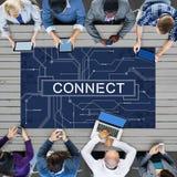 Begrepp för medel för teknologianslutningsonline-nätverkande Fotografering för Bildbyråer