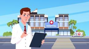 Begrepp för medicinsk klinik för bakgrund för manlig sjukhusbyggnad för doktor Standing Over Modern yttre vektor illustrationer
