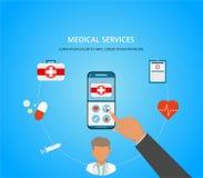 Begrepp för medicinsk konsultation Mobil medicin, mhealth, online-doktor Smartphone med den medicinska appen Plan illustration fö stock illustrationer