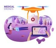 Begrepp för medicinsk service för surr eller för quadcopter Vektorillustration av att landa sidamallen Surrfluga över landskapet stock illustrationer
