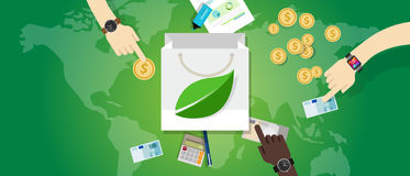 Begrepp för miljö för eco för köp för förbrukning för påseshoppingskuld fritt grönt vänligt royaltyfri illustrationer