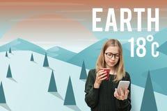 Begrepp för miljövård för jordklimatekologi royaltyfria bilder