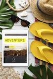 Begrepp för minnestavla för tur för semester för loppnavigeringresa arkivbild
