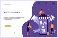 Begrepp för mobil shopping, e-kommers och online-lager stock illustrationer