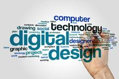 Begrepp för moln för Digital designord på grå bakgrund vektor illustrationer