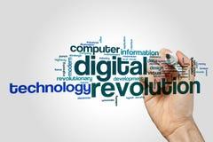Begrepp för moln för Digital revolutionord på grå bakgrund arkivfoto