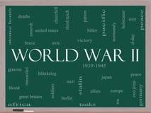 Begrepp för moln för ord för världskrig II på en svart tavla Royaltyfri Fotografi