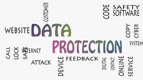 Begrepp för moln för ord för dataskydd på vit bakgrund
