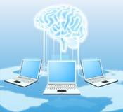 Begrepp för molnhjärndator Arkivfoto