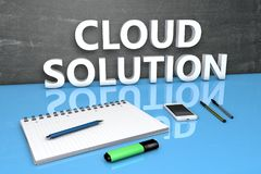Begrepp för molnlösningstext Arkivbild