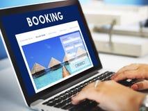 Begrepp för mottagande för lopp för reservation för hotellbokning Arkivfoto