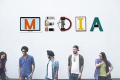 Begrepp för multimedia för kommunikation för massmediaunderhållningTV-sändning Royaltyfria Foton