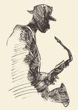 Begrepp för musik för jazzaffischsaxofon akustiskt Arkivfoton