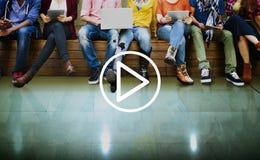 Begrepp för musik för lekmassmedia ljudsignalt videopn Arkivfoto