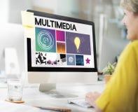 Begrepp för nätverk för cyberspace för multimediateknologi royaltyfri fotografi