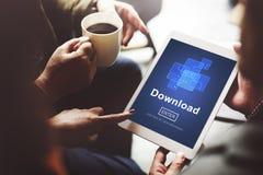 Begrepp för nätverk för nedladdningonline-internetteknologi Arkivbilder