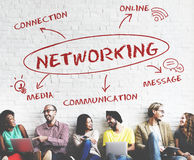 Begrepp för nätverk för samkvämMedia Communication anslutning royaltyfri foto