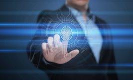 Begrepp för nätverk för internet för teknologi för affär för lära för maskin för Digital Brain Artificial intelligensAI Royaltyfria Foton